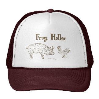 Gorra del camionero del Holler de la rana (cerdo y