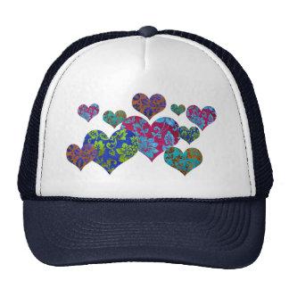 Gorra del camionero, modelo colorido del corazón d