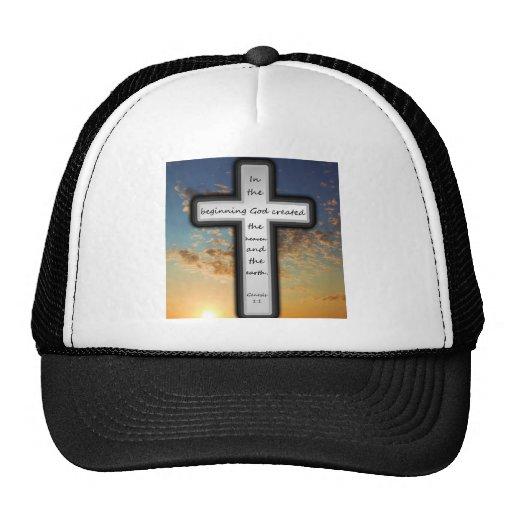 Gorra del camionero que ofrece la génesis 1: 1.