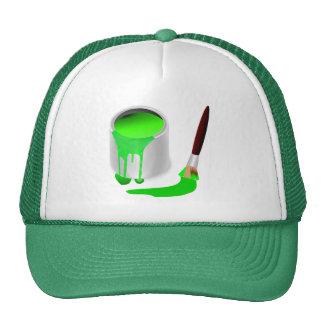 Gorra del camionero VERDE de la PINTURA y del