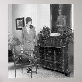 gorra del Cloche de la moda de los años 20 Póster