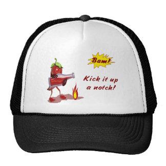 Gorra del cocinero con la pimienta roja caliente