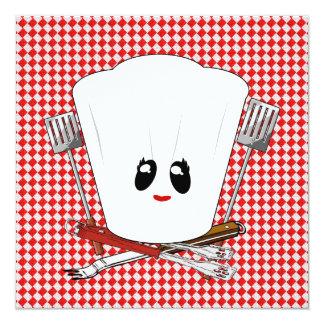 """Gorra del cocinero de la mesa de picnic w/Female y Invitación 5.25"""" X 5.25"""""""