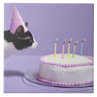 Gorra del cumpleaños del gato que lleva que sopla  azulejo cuadrado grande