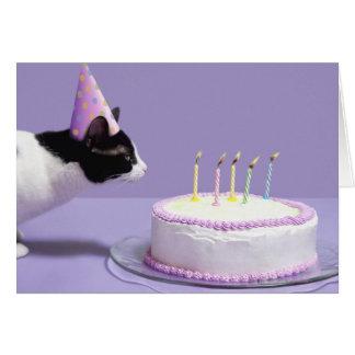 Gorra del cumpleaños del gato que lleva que sopla  tarjeta de felicitación