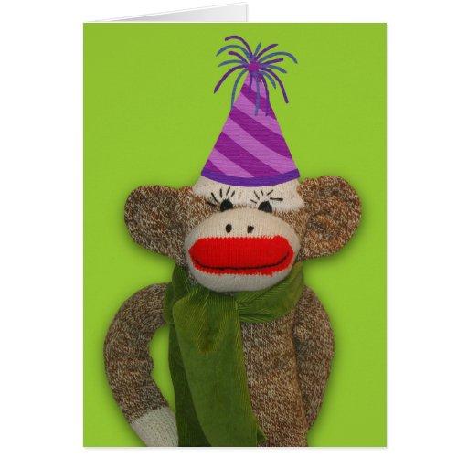 Gorra del cumpleaños del mono del calcetín tarjeta pequeña
