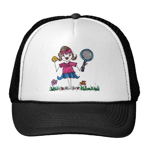 Gorra del deporte - chica del tenis del palillo
