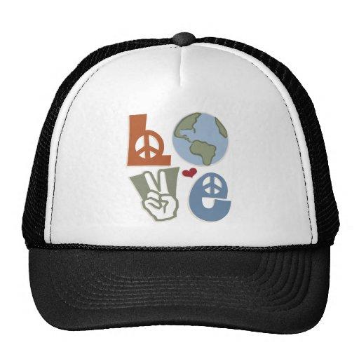 Gorra del Día de la Tierra del amor de la paz