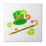 Gorra del día de St Patrick feliz y collage del ba Azulejos Ceramicos