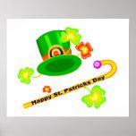 Gorra del día de St Patrick feliz y collage del ba Poster