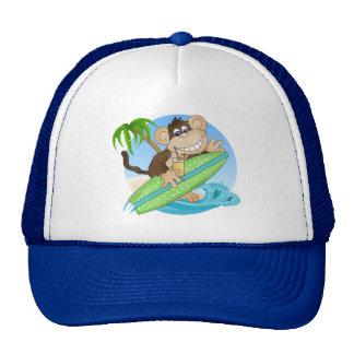 Gorra del dibujo animado de la playa del mono que
