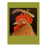 gorra del espárrago en la postal del gallo