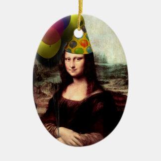 Gorra del fiesta de Mona Lisa que lleva (añada su Adorno Ovalado De Cerámica