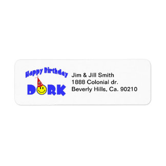 Gorra del fiesta del Dork del feliz cumpleaños Etiquetas De Remite