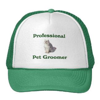 Gorra del Groomer del mascota con el gato blanco h