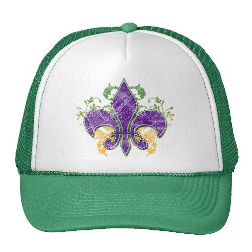 Gorra del Grunge de la flor de lis del carnaval