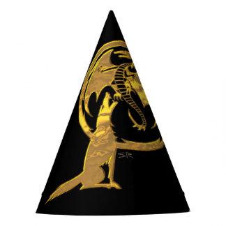 Gorra del mago del negro del lobo y del oro del