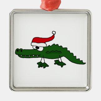 Gorra del navidad del cocodrilo que lleva lindo ornamentos para reyes magos