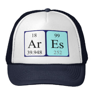 Gorra del nombre de la tabla periódica de Ares