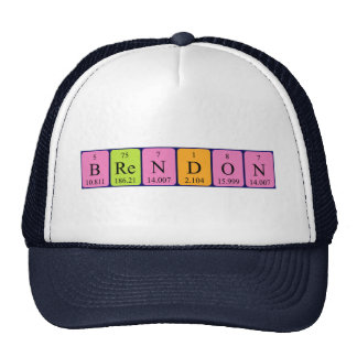 Gorra del nombre de la tabla periódica de Brendon