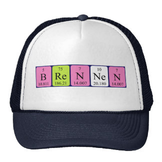 Gorra del nombre de la tabla periódica de Brennen