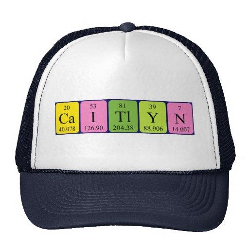 Gorra del nombre de la tabla periódica de Caitlyn