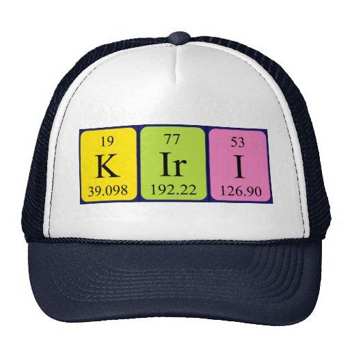 Gorra del nombre de la tabla periódica de Kiri