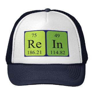 Gorra del nombre de la tabla periódica de la