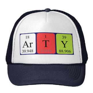 Gorra del nombre de la tabla periódica de los Arty