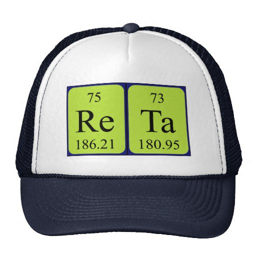 Gorra del nombre de la tabla periódica de Reta