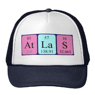 Gorra del nombre de la tabla periódica del atlas