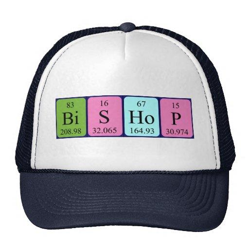 Gorra del nombre de la tabla periódica del obispo