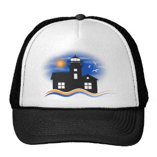 Gorra del paisaje marino del faro