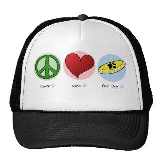 Gorra del perro del disco del amor de la paz
