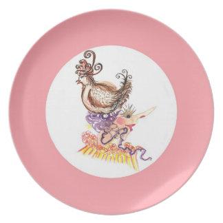 gorra del pollo platos para fiestas