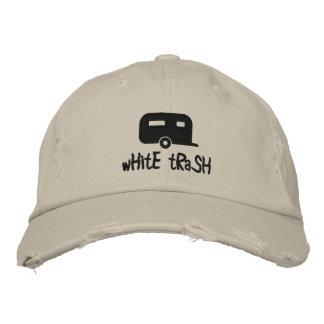 gorra del remolque de la basura blanca gorra de beisbol bordada