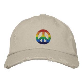 Gorra del signo de la paz del arco iris GLBT Gorra De Béisbol Bordada