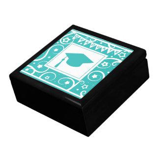 Gorra del tablero del mortero del graduado del azu cajas de recuerdo