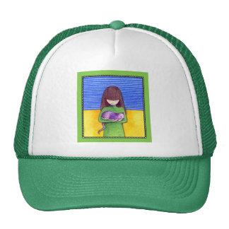Gorra del verde de la abrazo del gato