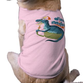 Gorra divertido del paraguas del dinosaurio de la playera sin mangas para perro