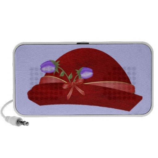 Gorra en rojo con la flor púrpura laptop altavoces