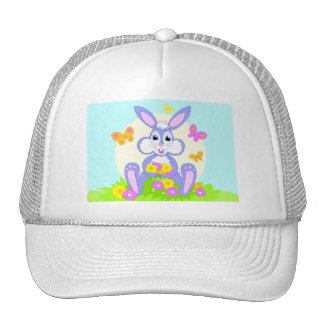Gorra feliz de las flores de mariposa del conejito
