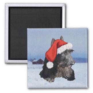 Gorra feliz de Terrier Santa del escocés Imán Cuadrado