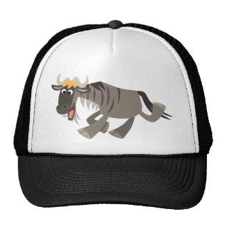 Gorra feliz lindo del Wildebeest del dibujo animad