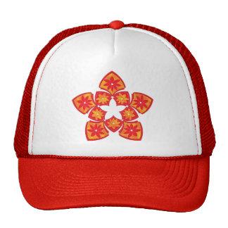 Gorra floral decorativo rojo del camionero de las