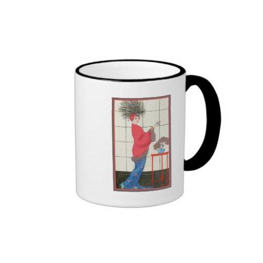 Gorra francés de la pluma taza de café