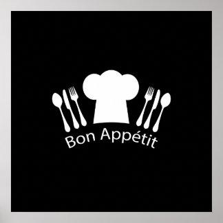 Gorra francés de los cocineros del restaurante póster