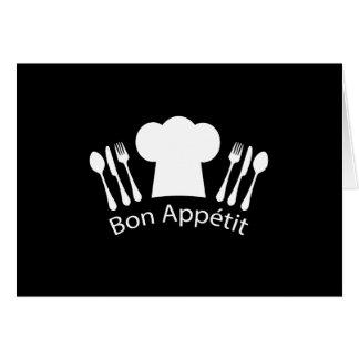 Gorra francés de los cocineros del restaurante tarjeta de felicitación