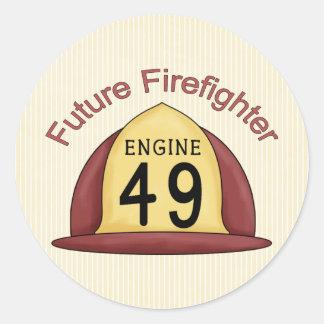 gorra futuro del bombero pegatina redonda