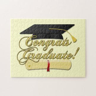 Gorra graduado del diploma y de la graduación de rompecabezas con fotos